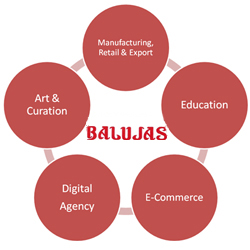 balujas business vertical retail manufacturing exports of shoes e commerce education art curation and digital media